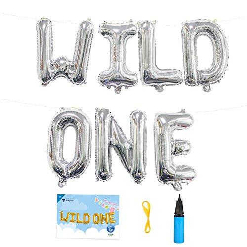 16 INCH Wild ONE Kids First Birthday Balloon Banner, Baby Girl Boy 1ST Bday Party Supplies with Air Pump