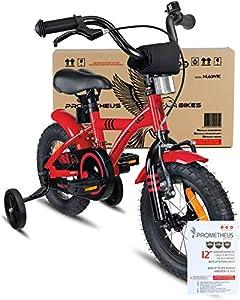 prometheus bicycles prometheus kinderfahrrad 12 zoll jungen m dchen rot schwarz ab 3 jahre mit. Black Bedroom Furniture Sets. Home Design Ideas