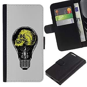 Stuss Case / Funda Carcasa PU de Cuero - Gris claro amarillo bulbo de la idea Amarillo - Apple Iphone 6 PLUS 5.5
