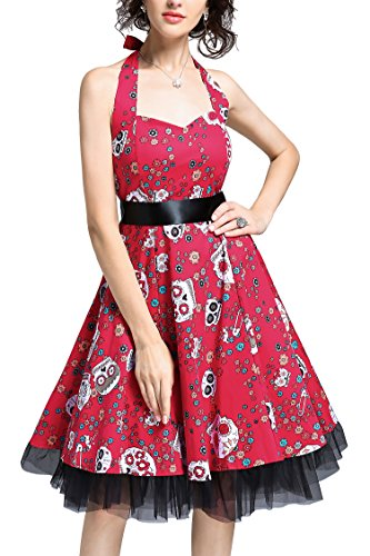 OTEN Womens Floral Sleeve Rockabilly