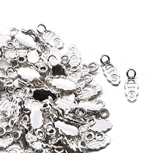 JETEHO 100 Pcs Silver Plated Jewelry Earring Bails Glue on Bail for Jewelry - Silver Plated 100 Pcs