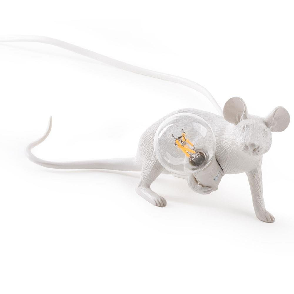 French monkey lamp - Seletti Mouse Lamp Lying White
