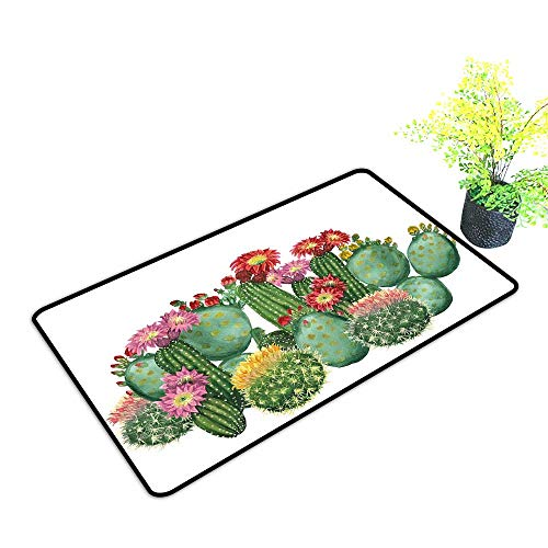 Zmstroy Interior Door mat Cactus Decor Saguaro Barrel Hedge Hog Prickly Pear Opuntia Tropical Botany Garden Plants W35 xL47 Easy to Clean Carpet Multicolor