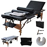New Fold Massage Table Portable Facial Bed W/sheet+cradle Cover+2 Bolster 84''l Portable Massage Table Facial SPA Bed Tattoo W/free Carry Case Black