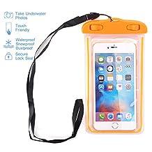 "Universal Waterproof Case, NOKEA Dry Bag for Apple iPhone 7, 6S, 6, 6S Plus, SE 5S 5C, Samsung Galaxy S7 Edge, S7, S6, S5, S4, Note 5 4, HTC LG G5, G4, Sony Nokia Motorola up to 6.0"" diagonal (Orange)"