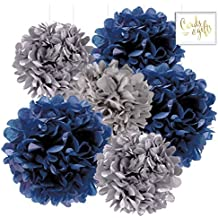 Andaz Press Hanging Tissue Paper Pom Poms Party Decor Trio Kit with Free Party Sign, Navy Blue, Royal Blue, Gray, 6-Pack, For Baby Bridal Shower Decorations