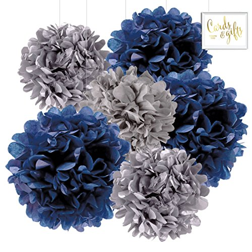 Andaz Press Hanging Tissue Paper Pom Poms Party Decor Trio Kit with Free Party Sign, Navy Blue, Royal Blue, Gray, 6-Pack, For Baby Bridal Shower Decorations ()