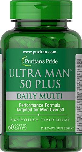 (Puritan's Pride High Potency Ultra Man 50 Plus Coated Caplets, 60 Count)