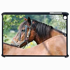 Customized Back Cover Case For iPad Air 5 Hardshell Case, Black Back Cover Design Moril Horses Relax Personalized Unique Case For iPad Air 5