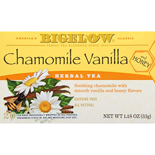 Bigelow Chamomile Vanilla Herbal Tea With Honey 20 Count (Pack of 6) Caffeine-Free Individual Herbal Tisane Bags, for Hot Tea or Iced Tea, Drink Plain or Sweetened with Honey or Sugar ()