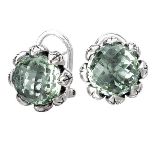 Element Clip Earrings (925 Sterling Silver Flower Earrings with Checkerboard-Cut Green Amethysts)