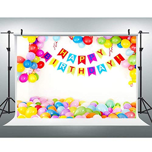 Happy Birthday Backdrop Kids Cartoon Party Photography Background Colorful Balloon Banner Vinyl Backdrop for Baby Shower Infant Newborn Child Portrait Photography Studio Props YouTube Video ()