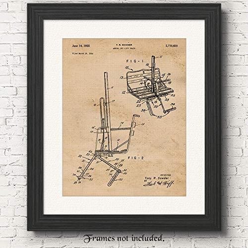 Original Ski Lift Chair Patent Art Poster Prints - 11x14 Unframed - Great Wall Art Decor Blueprints Gifts Under $15 for Skiers, Ski Lodge, Mountain Cabin