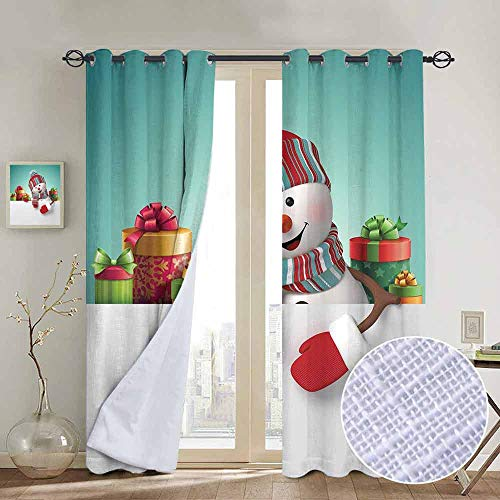hengshu Christmas 99% Blackout Curtains Three Dimensional Snowman Design with Scarf and Hat Ornate Boxes Illustration for Bedroom Kindergarten Living Room W96 x L96 Inch Multicolor (Snowman Made Out Of Cups For Door)