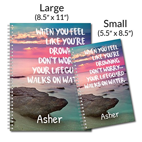 Lifeguard Personalized Religious Spiral Notebook/Journal, 120 College Ruled or Checklist Pages, durable laminated cover, and wire-o spiral. 8.5x11   5.5x8.5   Made in the USA Photo #4
