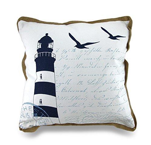 Navy Blue/White Lighthouse Print Canvas Decorative Throw Pillow