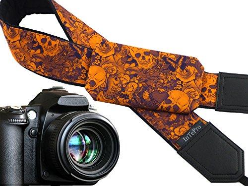 Sugar skulls camera strap with pocket. Skulls. Roses. Carps. Orange and...