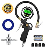 Digital Tire Inflator with Pressure Gauge, innislink 255 PSI Air Chuck and Compressor Accessories with Rubber Hose and Quick Connect Coupler for Auto, Truck, Bike, Moto, 0.1 Display Resolution - Black