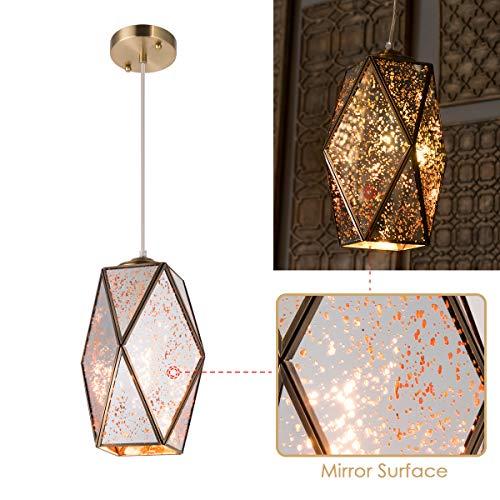 YIFI Pendant Light Mirror Reflector Decorative Adjustable Hanging Pendant Light for Dining Room Kitchen Bedroom, Medium