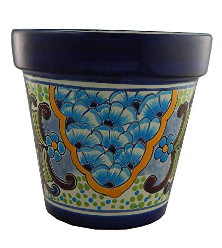 Talavera Planter Ceramic (Mexican Talavera Planter Ceramic Flower Pot Folk Art Pottery Garden Handmade #03)