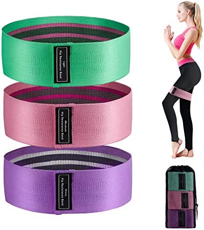 Sonomo Resistance Bands for Legs and Butt, 3 Exercise Bands Non-Slip Workout Bands for Women/Men, Booty Bands Fabric Elastic Fitness Bands Loops for Home Gym Squat Glute Hip Training