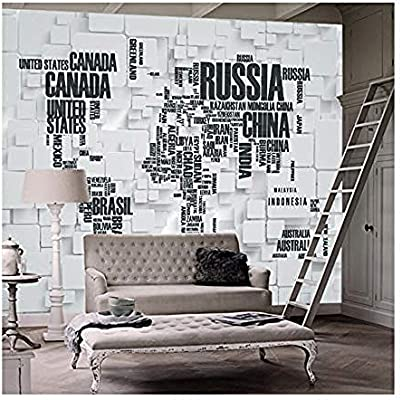 Wallpaper Mural 3d Stereo Brick Wall World Map Living Room Office