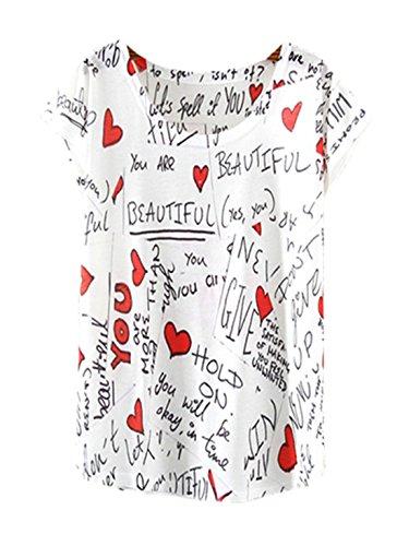 Trendy Blouse Tunic Tees Cami Casual Women Leisure Tops Shirt 7 YICHUN Fashion Wear Shirt Thin T Scrawl Girls Printed Opnq7xIRxz
