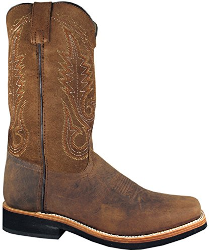 Smoky Mountain Boots Mens Boonville Brown Distress Leather Square Toe 8 D