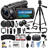 Sony FDR-AX33 4K Ultra HD Handycam Camcorder with 64GB Memory Card, Carrying Case, 60 Tripod, 72 Monopod, Microphone, 10Pcs Cleaning Kit, Microfiber Cloth and Filmmakers Broadcasting Bundle
