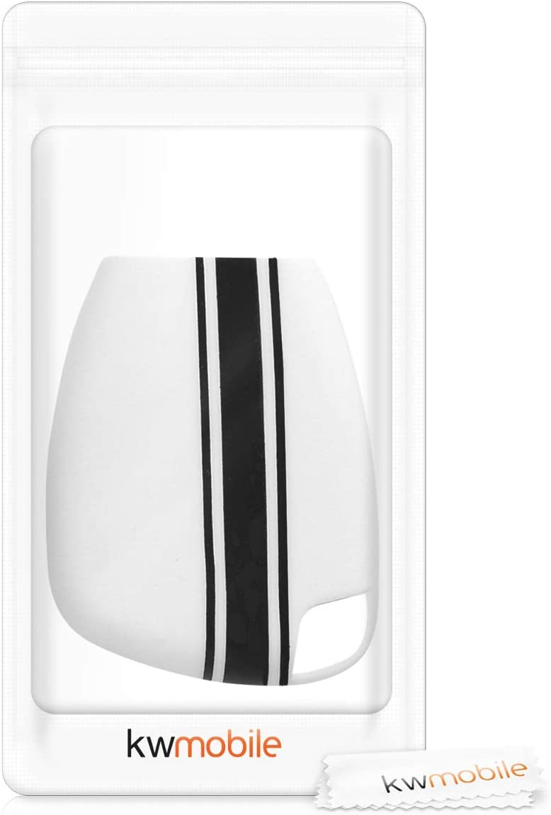 Rally Stripe Black//White kwmobile Car Key Cover Compatible with Mercedes-Benz 2-3 Button Car Key Silicone Protective Key Fob Cover
