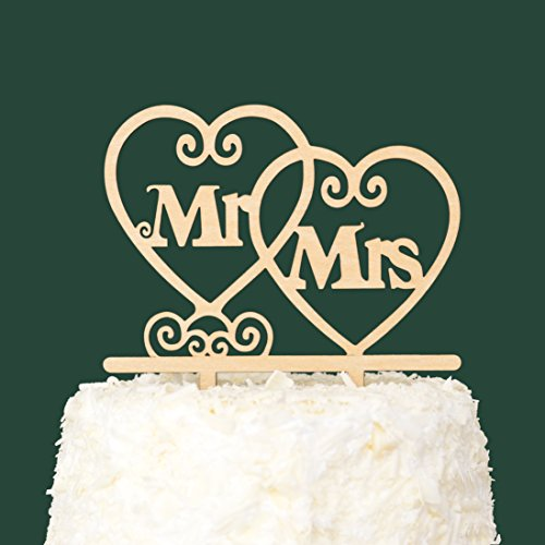 LOVENJOY with Gift Box Mr and Mrs Monogram Wedding Engagement Cake Topper Rustic Wood (5.5-inch) by LOVENJOY (Image #3)