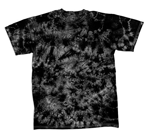 Black Faded Crystal Scattered Pattern Design Unisex Adult Tie Dye T-Shirt (Faded Black T-shirt)