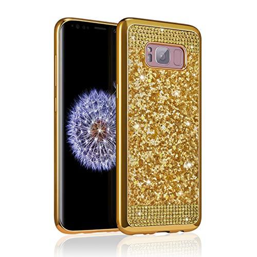 ZCDAYE Samsung Galaxy S7 Edge Case,Bling Glitter [Crystal Rhinestone Diamond] Soft TPU Rubber Silicone [Electroplating Edge] Shockproof Protective Back Case for Samsung Galaxy S7 Edge - Gold