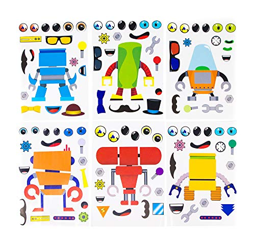 24 Make A Robot Stickers For Kids - Great Robot Theme Birthday Party Favors - Fun Craft Project For Children 3+ - Let Your Kids Get Creative & Design Their Favorite Robot Stickers -