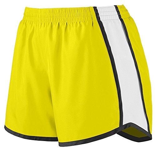 Augusta Sportswear Womens Junior Fit Pulse Team Short, Power Yellow/White/Black, X-Large -