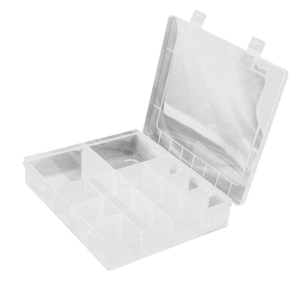 Tinksky 14-red de almacenamiento plástico envase casos joyero organizador con separadores removibles (transparentes)