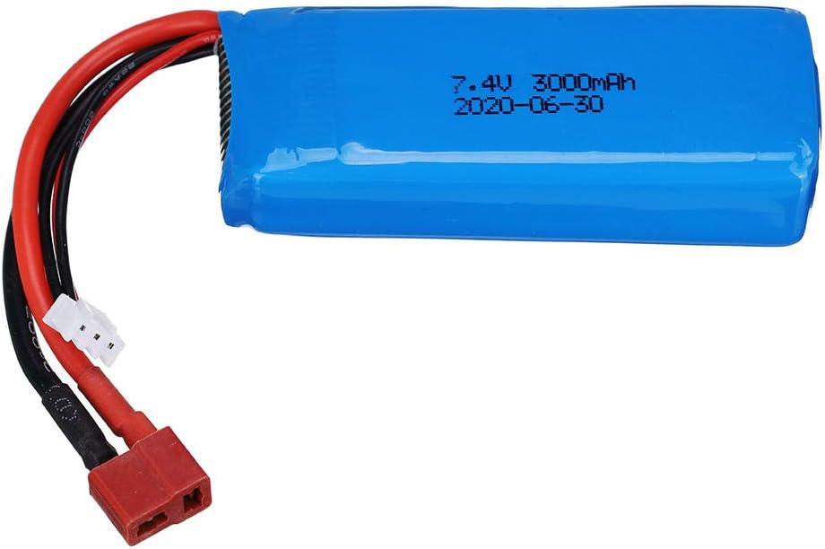 YZDMC 144001 Car 2s 7.4V 3000mAh Lipo Battery For Wltoys 1//14 144001 RC Car Boat Spare Parts 2s 7.4v Upgraded Battery T Plug