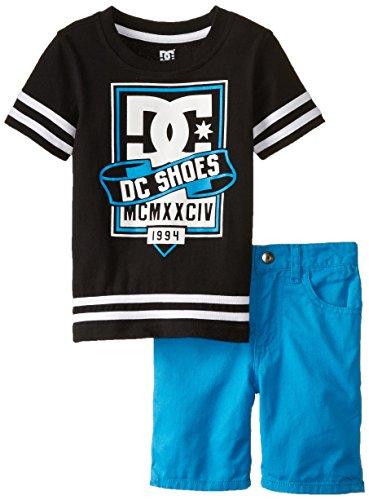 DC Shoes Co Little Boys' Black Rash Guard With Microfiber Shorts Set, Blue, 4T