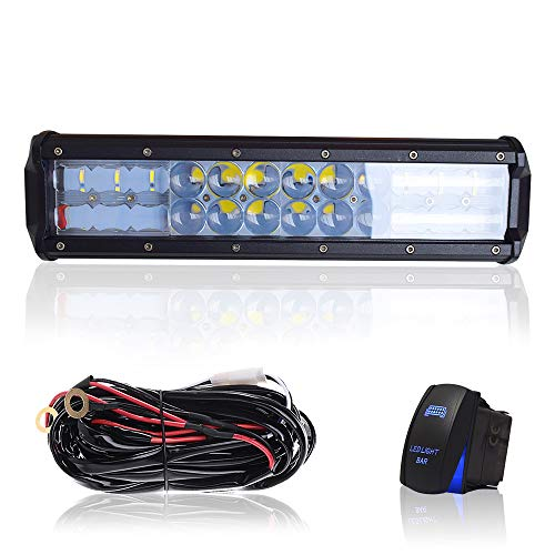 """DOT 12"""" Inch 72W Led Light Bar Combo Grill Windshield Bumper Light Bar + 1x Rocker Switch + 1x Wiring Harness for Trailer Boat SUV ATV Truck Jeep Wrangler Dodge Chevy RV Ford F150 F250 Tractor Toyota"""