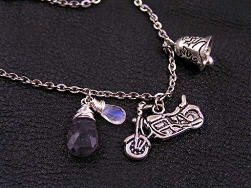 (Motorcycle Gremlin Bell Necklace, Moonstone and Iolite on Stainless Steel Chain)