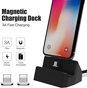 for iPhone Magnetic Desktop Charging Dock SIKAI 3A Quick Charging Data Sync Stand Compatible with iPhone XR, XS Max, iPhone 8, 7, 6s, 6 Plus, iPad, Portable Desktop Charger Dock (Black)