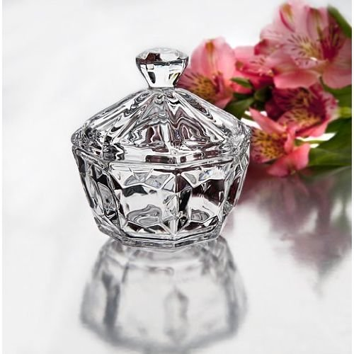 4039 Crystal Candy Box With Diamond Shaped Finial (Box Candy Dish)