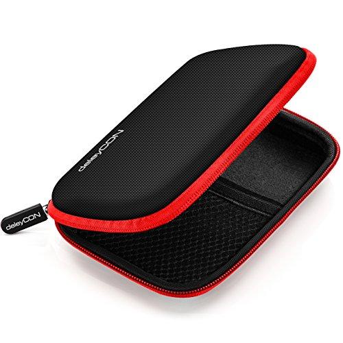 deleyCON Festplattentasche / Festplatten Case / HDD Case - für 2.5 Zoll Festplatten und SSD - Robust & Stoßsicher - 2 Innenfächer / Netztaschen - Schwarz/Rot