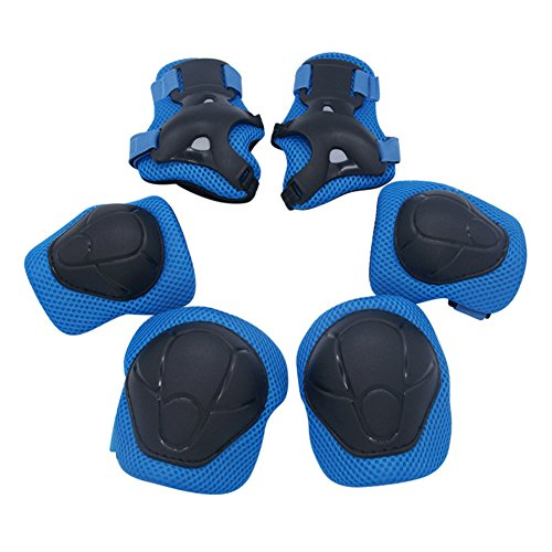 Kipten 6pcs Set Kid Roller Skating Skateboard Elbow Knee Pads Wrist Protective Adjustable Guard Gear Pad Children Cycling Bicycle Sports by Kipten