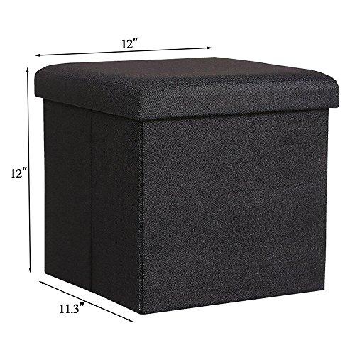 nisuns ot01 folding storage ottoman cube footrest seat 12 x 12 x 12 inches linen black. Black Bedroom Furniture Sets. Home Design Ideas