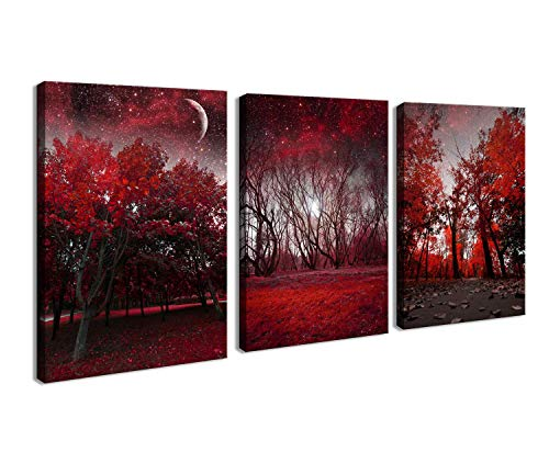 (Cao Gen Decor Art-AH40346 Canvas Prints 3 Panels Framed Wall Art Red Trees Paintings Printed Pictures Stretched for Home Decoration (Renewed))
