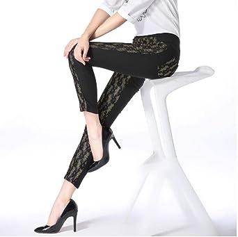 Sin Costura Leggins Mujer Skinny Elástico Pantalón Leggings De Nueve Puntos De Algodón con Costuras Frontales @ Black_ Talla Única: Amazon.es: Ropa y accesorios