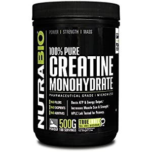 NutraBio 100% Pure Creatine Monohydrate (500 Grams) Micronized, Unflavored, HPLC Tested