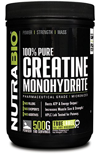 NutraBio 100% Pure Creatine Monohydrate Powder 500 Grams HPLC Tested, Micronized, Unflavored, No Additives or Fillers, GMP. Post Workout Muscle Building Supplement.