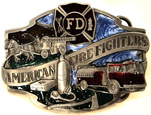 AMERICAN FIRE FIGHTERS PEWTER BELT BUCKLE - MADE IN USA BY SISKIYOU (Pewter Buckle Belt Mens)